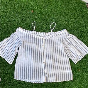 BP off the shoulder linen striped button down top